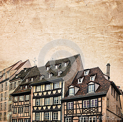 Traditional half-timbered houses street in Strasbourg, Alsace, France