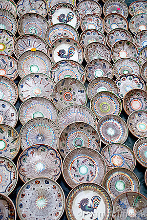 Traditional handcrafted romanian pottery plates