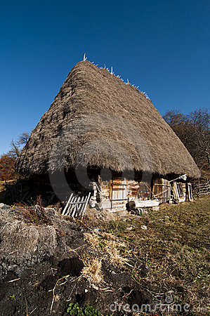 Traditional hay roofed wooden country house in Tra