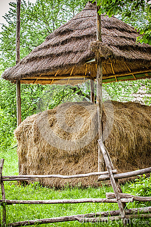 Traditional hay stacks, typical rural scene