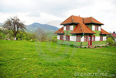 Traditional house on a spring hill