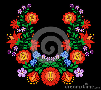Free Traditional Hungarian Folk Embroidery Pattern Stock Photography - 51512902