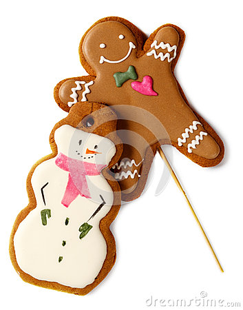 Free Traditional Iced Gingerbread Christmas Cookies Man With Snowmen Isolated Stock Photo - 80605080
