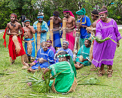 Traditional indigenous choir in New Caledonia Editorial Stock Photo