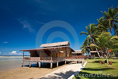 Traditional Indonesian chalet in an island resort