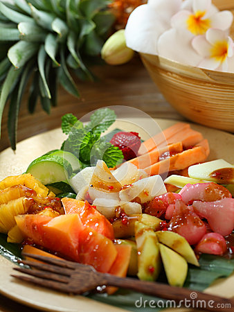 Traditional Indonesian fruit salad dish