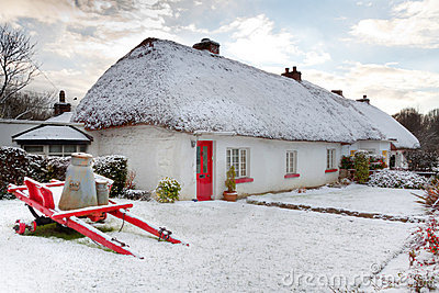Traditional irish cottage at winter time