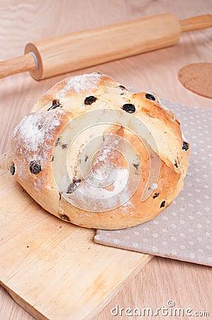 Traditional irish soda bread with raisins
