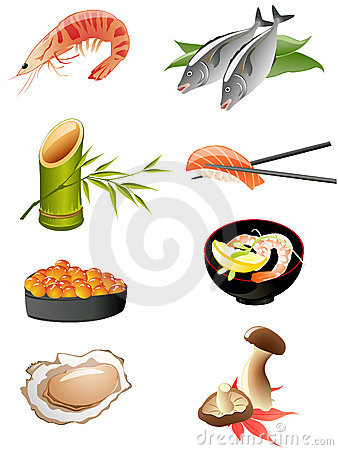 Traditional japanese food icons