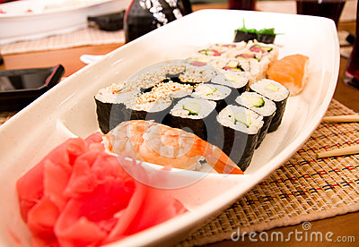 Traditional Japanese food Sushi.