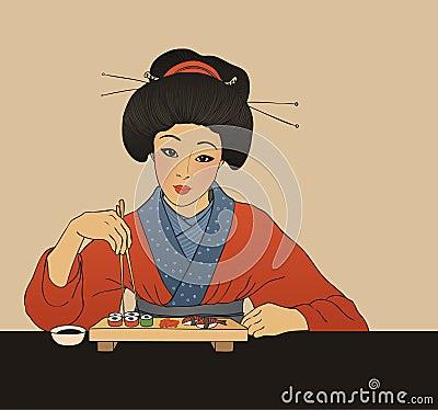 Traditional japanese girl enjoy sushi