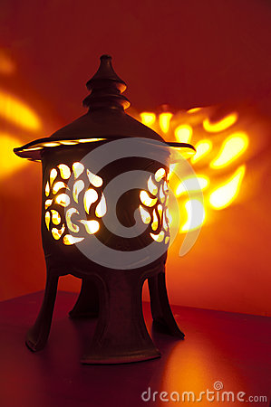 Traditional japanese lantern with candle inside