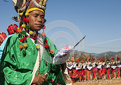 Traditional Jingpo Man at Dance Editorial Photo