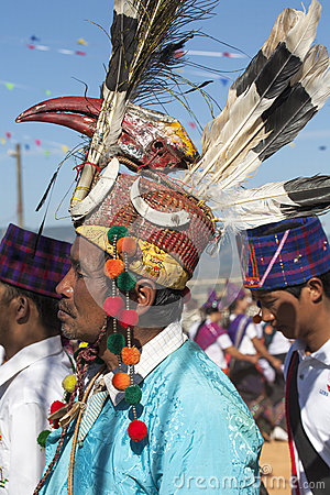 Traditional Jingpo Man at Dance Editorial Photo