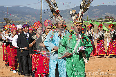 Traditional Jingpo Men at Dance Editorial Stock Photo