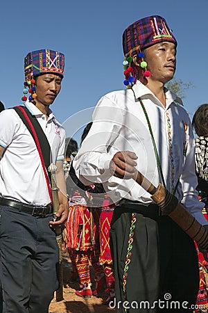 Traditional Jingpo Men at Dance Editorial Stock Photo