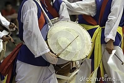 Traditional Korean drummer.