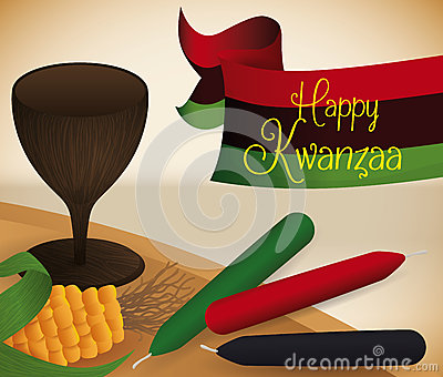 Traditional Kwanzaa Elements On The Mat Vector