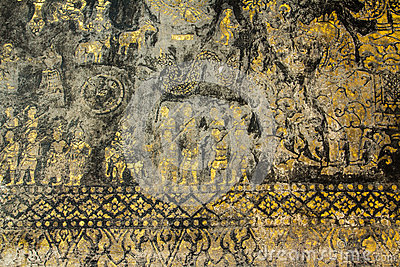 Traditional laos style painting art in wat xiengthong,luangpraba