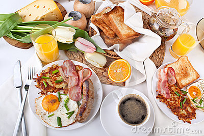 Traditional large American breakfast