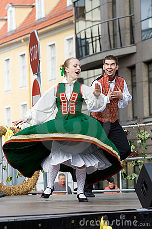 Traditional Latvian folk dancing Editorial Stock Photo
