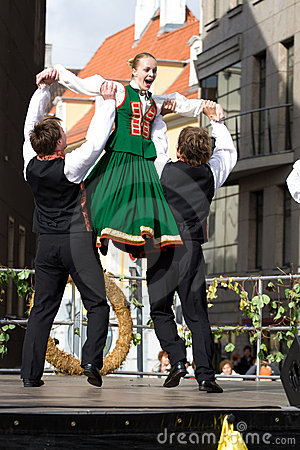 Traditional Latvian folk dancing Editorial Photo