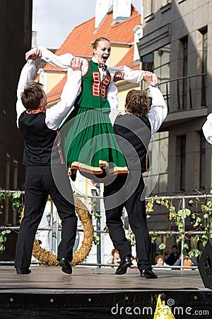 Traditional Latvian folk dancing Editorial Photo