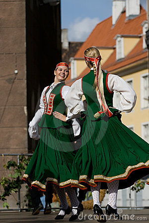 Traditional Latvian folk dancing Editorial Stock Image