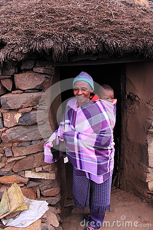 Traditional lesotho woman and child Editorial Photography