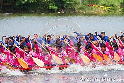 Traditional long boat racing at koa toa huahin 2013 Editorial Stock Image