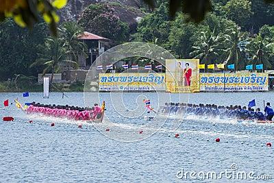 Traditional long boat racing at koa toa huahin 2013 Editorial Image