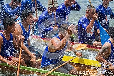 Traditional long boat racing at koa toa huahin 2013 Editorial Stock Photo