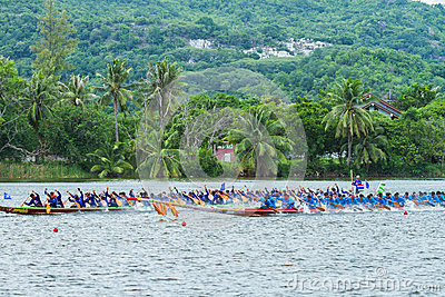 Traditional long boat racing koa toa huahin 2013 Editorial Stock Photo