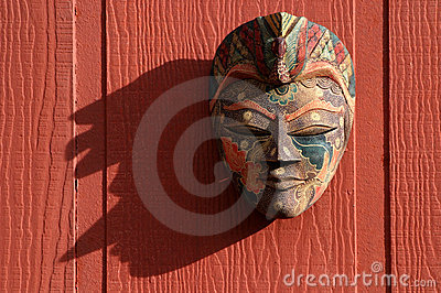 Traditional Mask on Red