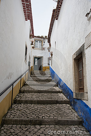 Free Traditional Medieval Street In Obidos, Portugal Stock Photos - 97128613