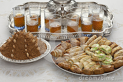 Traditional Moroccan tea at id-al-fitr the end of