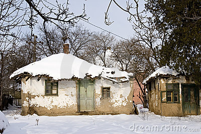 Traditional mud built farmhouse in winter