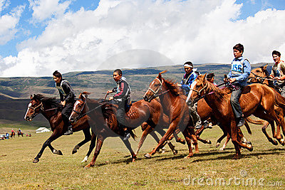 Traditional national nomad horse riding Editorial Photo