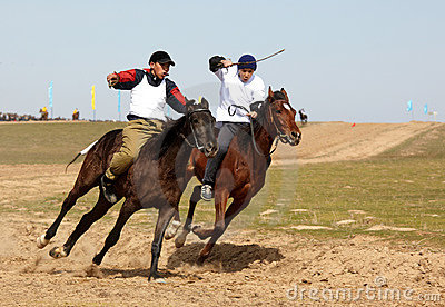Traditional national nomad horse riding Editorial Stock Photo