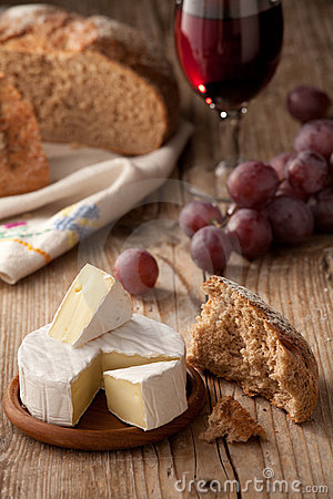 Traditional Normandy Camembert cheese with bread