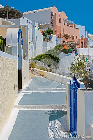Traditional old street in Santorini, Greece