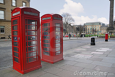 Traditional old style red phone booths
