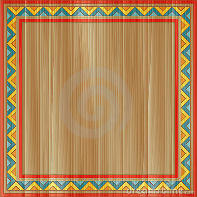 Traditional ornament painted on wooden board