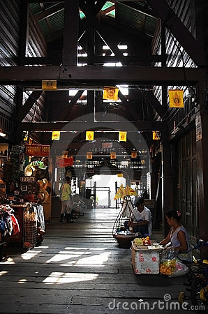 Traditional pier market in Thailand Editorial Stock Photo
