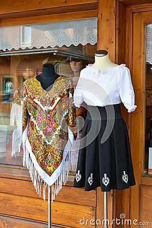Traditional Polish clothes for sale in Zakopane, Poland.