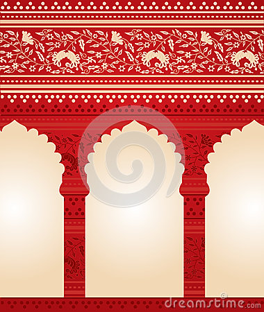 Free Traditional Red Indian Floral Temple Background Stock Image - 47325531