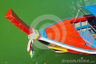 Traditional red long tail boat in Thailand