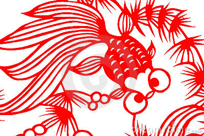 Traditional red paper cut fish