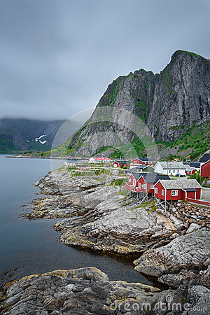 Traditional red rorbu cottages in Hamnoy village, Lofoten islan Stock Photo