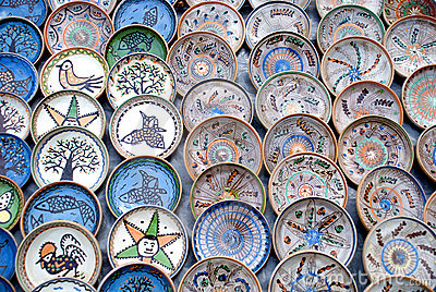 Traditional romanian handcrafted pottery plates